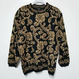 Vintage Alfred Dunner Black and Gold Sweater